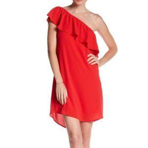 NWT Bobeau One Shoulder Ruffle Dress Red